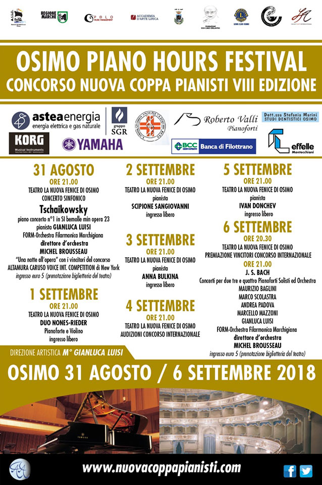 Il cartellone dell'Osimo Piano Hours Festival, 2018